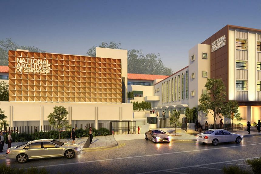 An artist's impression of the revamped National Archives of Singapore building, which will reopen at Canning Rise in April 2019.