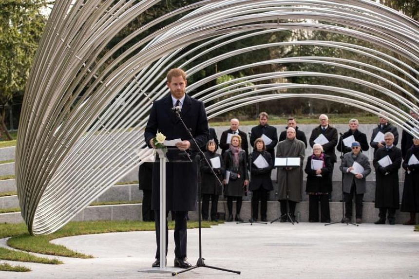 Britain's Prince Harry, Duke of Sussex, delivers a speech on March 4, 2019, to dedicate the Sousse and Bardo Memorial to victims of the two terrorist attacks which took place in Tunisia in 2015.