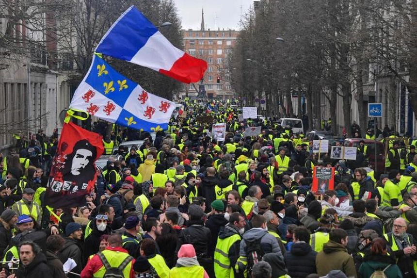 """Police said there had been calls on social media ahead of demonstrations for protesters to arm themselves with """"Caca-tovs"""" - after Molotov cocktails but filled with """"caca"""", the French term for poo."""