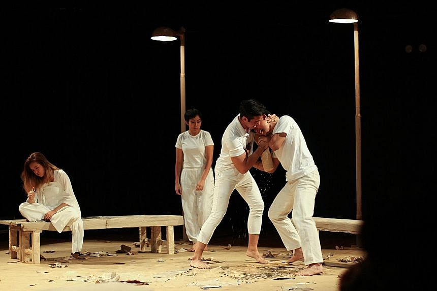 The cast are dressed in white, but as the narrative continues, charcoal wielded by a struggling artist smears and darkens the purity of the characters' clothes.