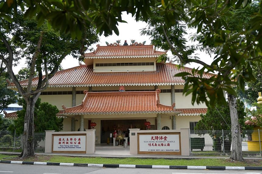 Tian Kong Buddhist Temple and Tuan Kong Beo (Teochew) Temple are both sited in a compound in Bedok North. Both groups inked an agreement in July 2011 to regulate the use of the premises, but its terms are in dispute, with the Teochew temple having lo
