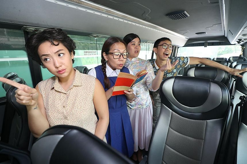 The public can hop on a bus where actors tell stories of the 1970s, in a show called Buses And Roads: A Bus Theatre Experience. (From left) Cast members Dawn Lee, 26; Victoria Chen, 44; Miriam Cheong, 24; and Sean Lai, 33. The one-hour journey begins