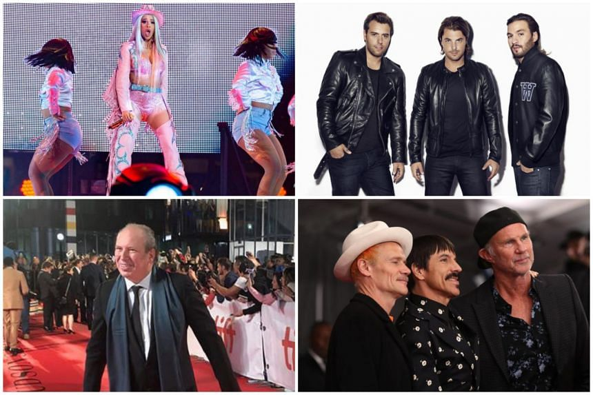 (Clockwise from top left) Cardi B, Swedish House Mafia, Red Hot Chili Peppers and Hans Zimmer.