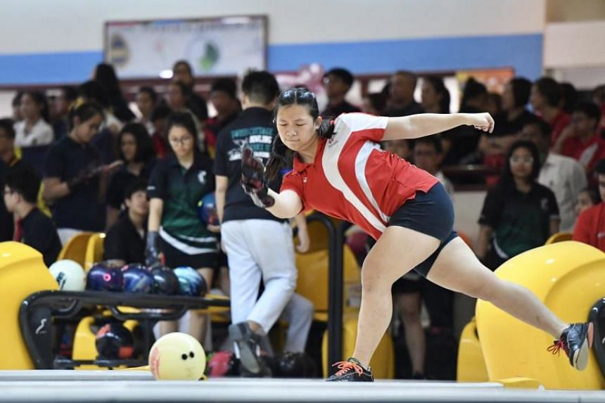 Singapore Sports School's Mandy Koh in action during the last day of the Schools National B Division bowling championships on March 5, 2019. Koh finished second in the all-events category.