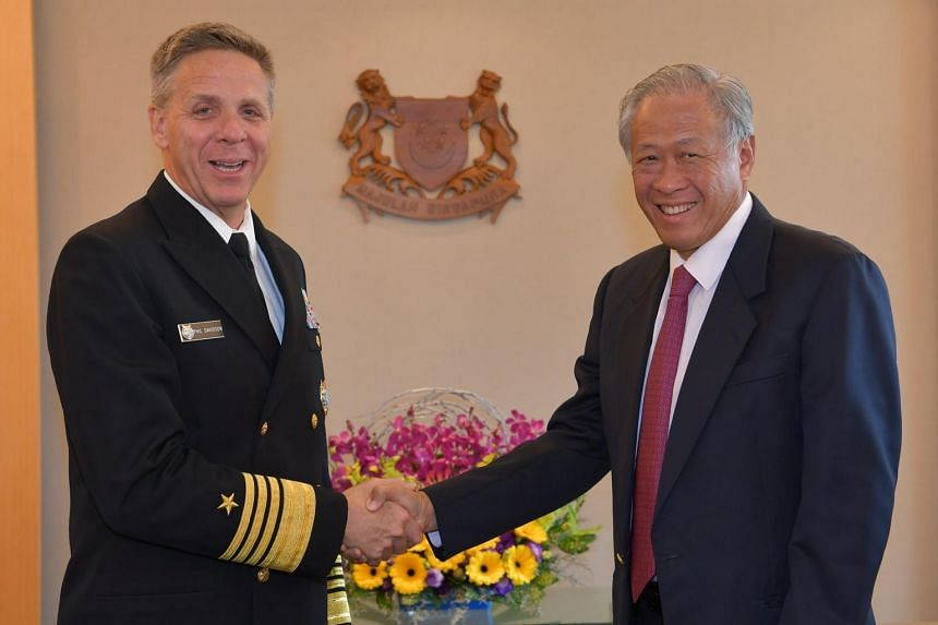 Admiral Philip Davidson (left) shared his command's plans for engaging the Asia-Pacific region during his meeting with Defence Minister Ng Eng Hen on March 5, 2019.