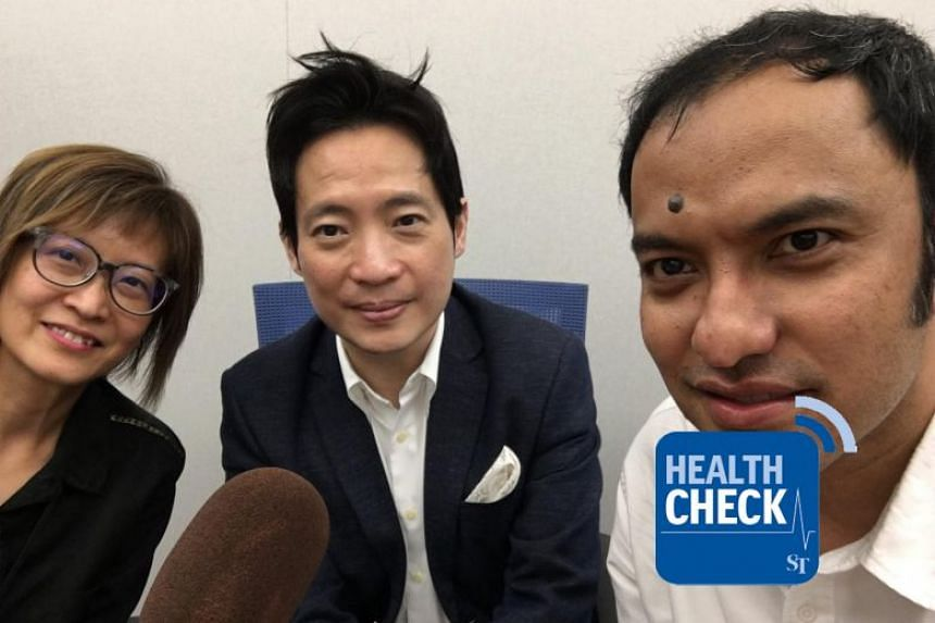 The Cancer Centre's Dr Wong Seng Weng (centre) discusses coffee, hot beverages and the risk of cancer with Health Check co-hosts Joyce Teo and Ernest Luis.