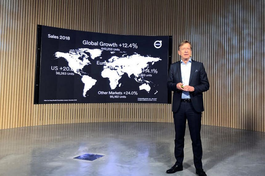 Volvo Cars CEO Hakan Samuelsson presents fourth quarter 2018 results at the company's showroom in Stockholm, Sweden, on Feb 7, 2019.