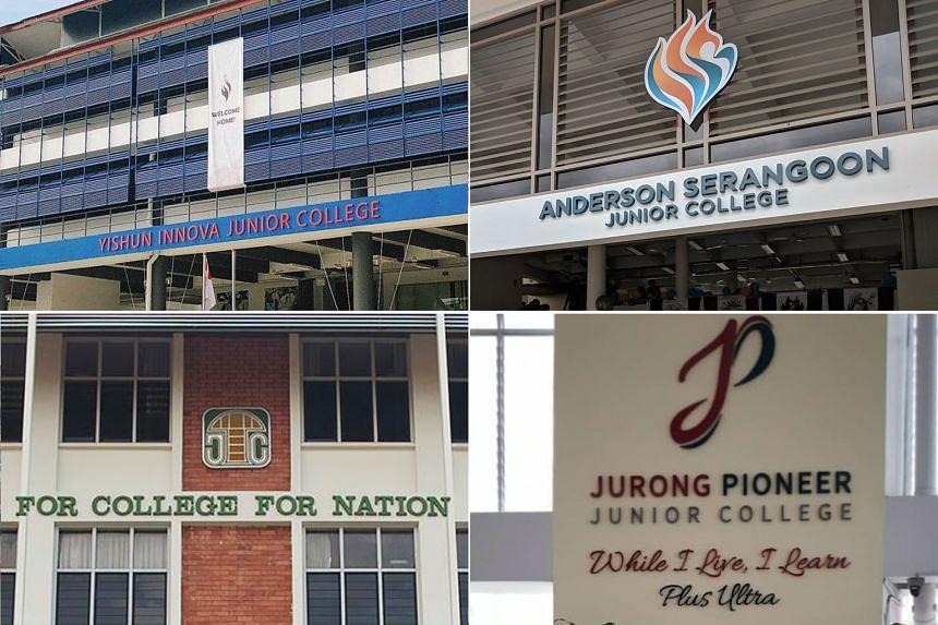 (Clockwise from top left) Yishun Innova Junior College, Anderson Serangoon Junior College, Jurong Pioneer Junior College and Temasek Junior College.
