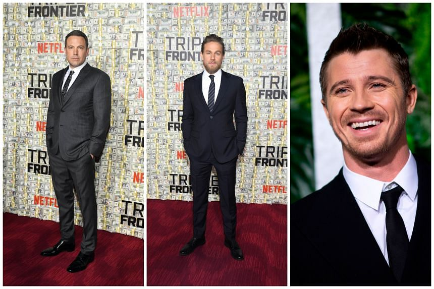 The stars of Netflix original film Triple Frontier, Ben Affleck (left), Charlie Hunnam (middle) and Garrett Hedlund (right), will meet fans at Marina Bay Sands on Friday.