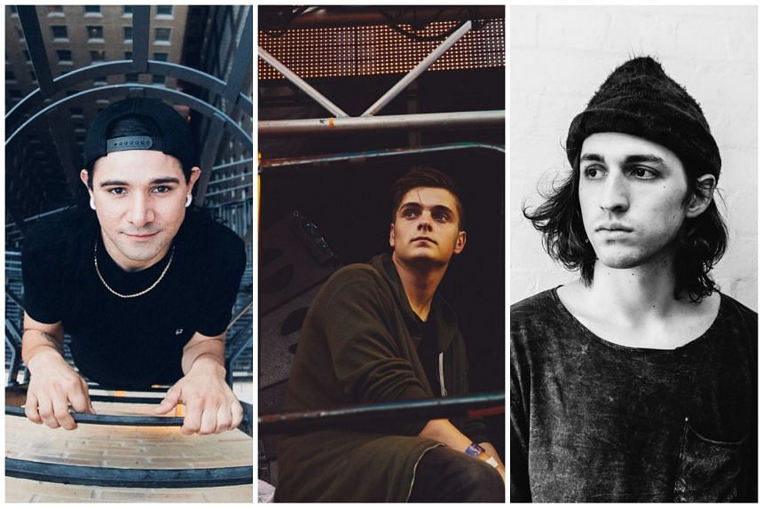 (From left) Grammy-award winning American music producer Skrillex, Dutch DJ Martin Garrix and American DJ-producer Porter Robinson are headlining Ultra Singapore this year.