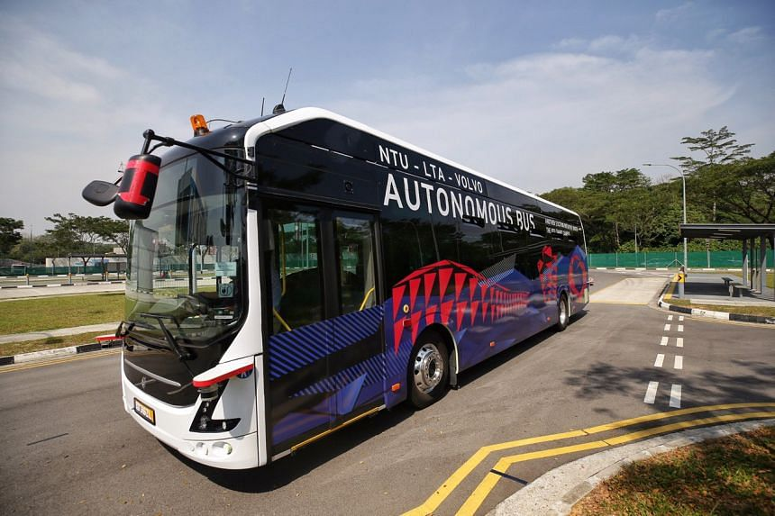 The NTU-LTA-Volvo Autonomous Bus running on a purpose-built track at Cetran on March 4, 2019.