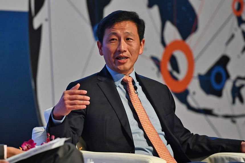 Education Minister Ong Ye Kung at the World Academic Summit held at the National University of Singapore on Sept 26, 2018. He grew up in a Chinese-speaking family and struggled with English though school.