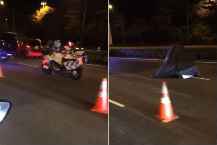 A video of the accident scene on Monday evening showed a blue tent on the BKE near a parked tipper truck. A 55-year-old motorcyclist was pronounced dead by paramedics at the scene.