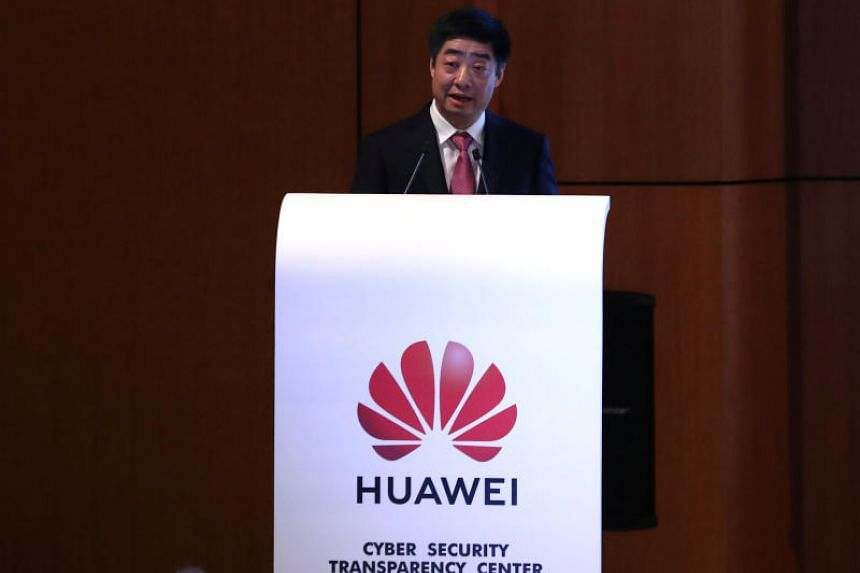 Huawei's Deputy Chairman Ken Hu gives a speech at the opening of the Huawei Cyber Security Transparency Centre in Brussels, Belgium, on March 5, 2019.