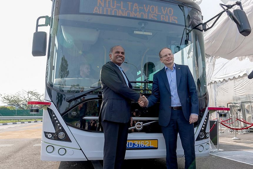 Nanyang Technological University president Subra Suresh (left) and Volvo Buses president Hakan Agnevall at the launch of the new bus.