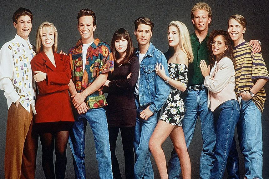 The cast of Beverly Hills, 90210 include (above from left) Brian Austin Green, Jennie Garth, Luke Perry, Shannen Doherty, Jason Priestley, Tori Spelling, Ian Ziering, Gabrielle Carteris and Douglas Emerson.