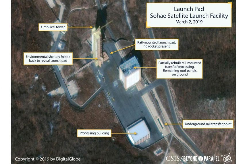 The Sohae Satellite Launching Station launch pad features what researchers of Beyond Parallel describe as showing the partially rebuilt rail-mounted rocket transfer structure in a commercial satellite image taken over Tongchang-ri, North Korea, on Ma