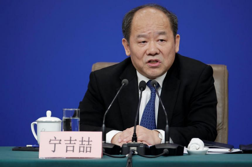 Mr Ning Jizhe, vice-chairman of the National Development and Reform Commission, speaks at a news conference during the ongoing National People's Congress in Beijing on March 6, 2019.