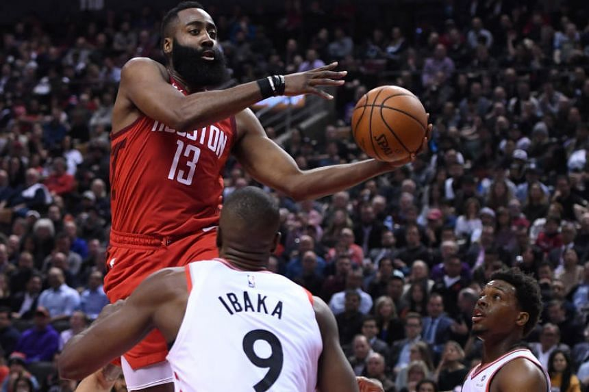James Harden's jump shot with 2:54 remaining extended the lead to 13 in the match against the Toronto Raptors.