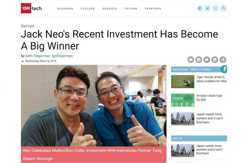 The fake article, which comes with a photo of Jack Neo (left) and Indonesian businessman Tung Desem Waringin, quotes the director on how lucrative investments in bitcoin can be.