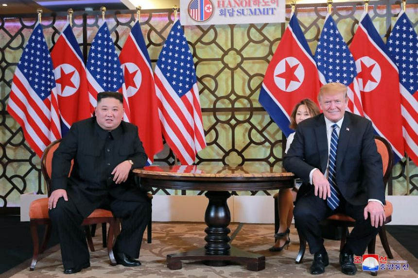 North Korean Kim Jong Un and US President Donald Trump at a meeting during their summit in Hanoi, Vietnam.