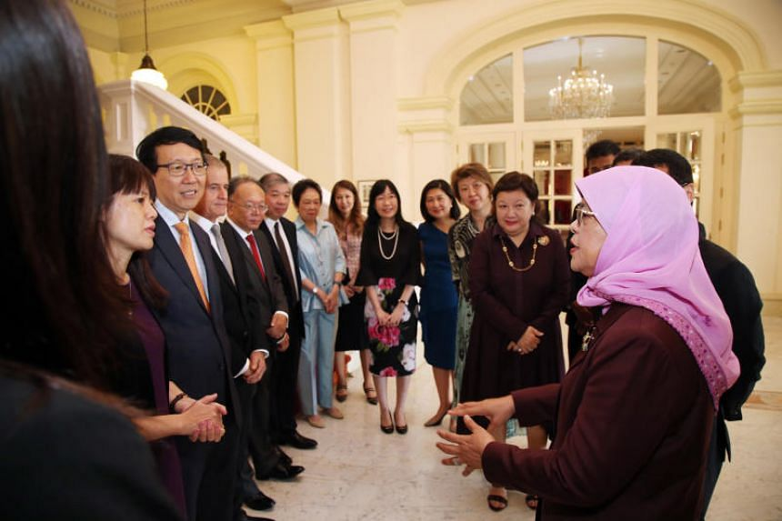 President Halimah Yacob meeting members of the Council for Board Diversity at the Istana on Jan 16, 2019. The council was formed to spearhead work to bring more women on the boards of organisations