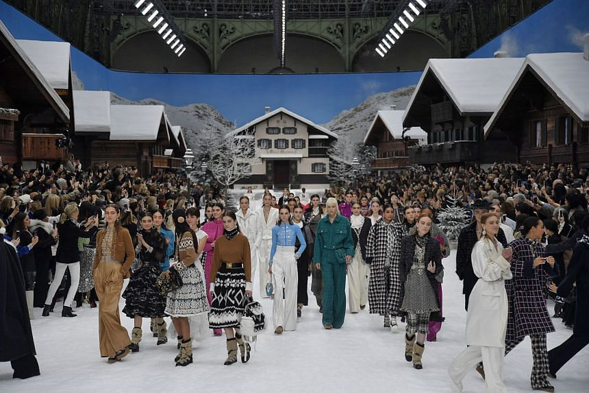A wintery alpine village created within the Grand Palais was the set for the Chanel fall-winter 2019 collection.