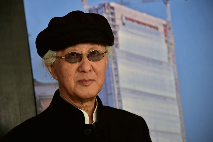 """Arata Isozaki is pictured at the """"City Life Office Tower"""" in 2014 in Milan, when it was under construction."""
