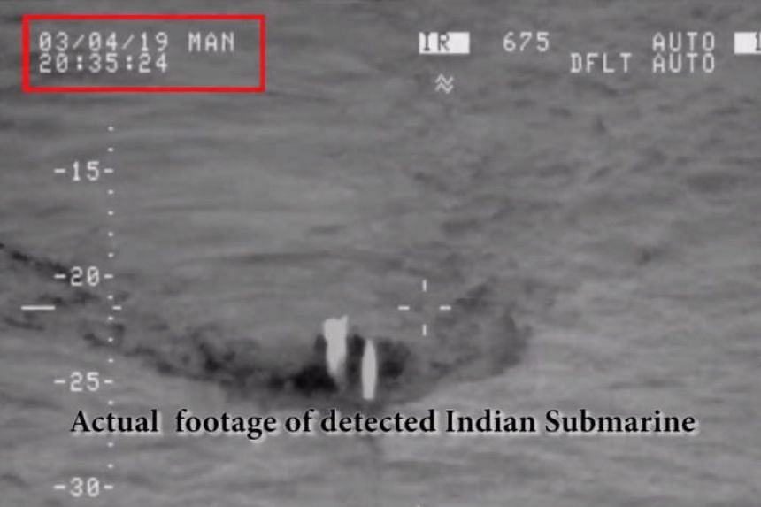 A handout video grab from a video taken on March 4, 2019 shows what the Pakistani military claim is an Indian submarine approaching its territorial waters in the Arabian Sea.