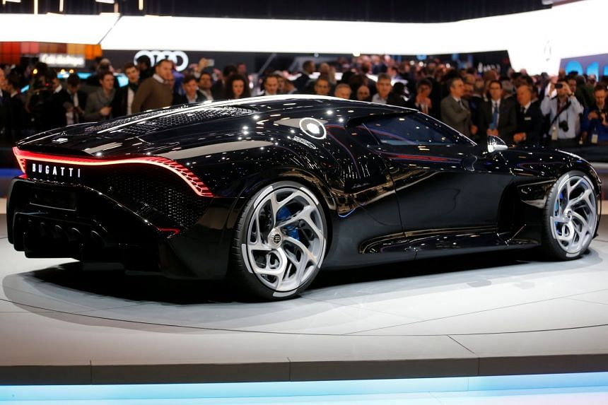 The new Bugatti La Voiture Noire is displayed at the 89th Geneva International Motor Show in Geneva, Switzerland, on March 5, 2019.