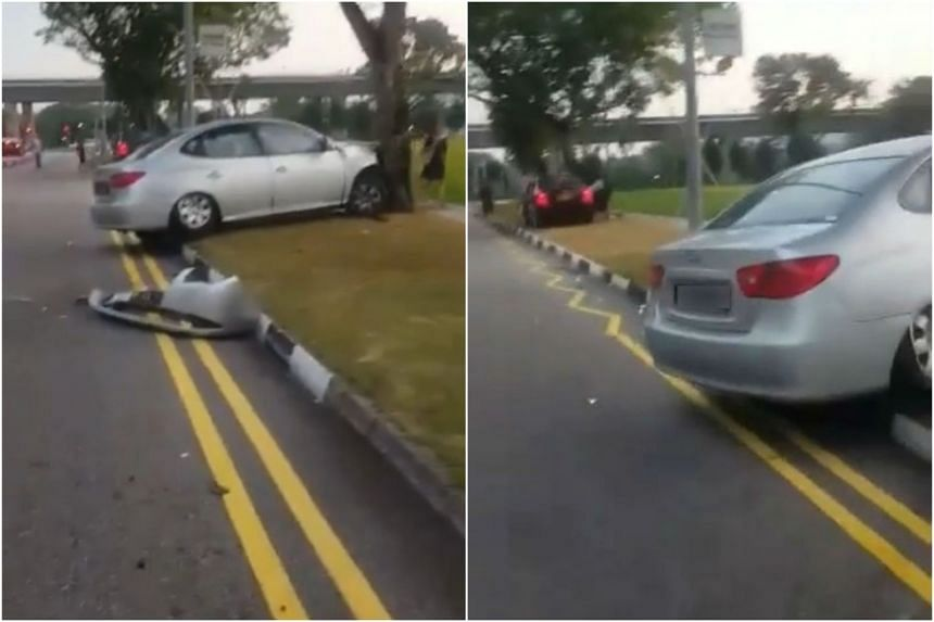 Screenshots from a clip of the accident in Jurong East.