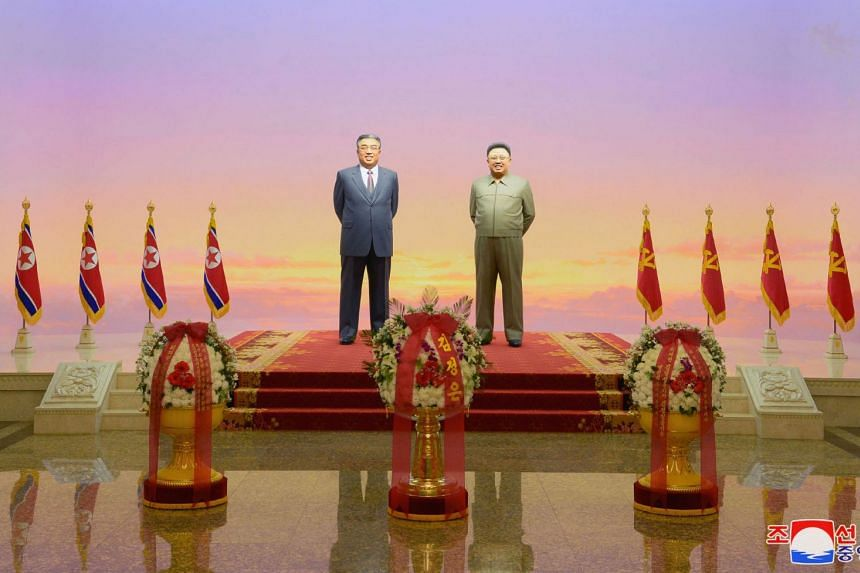 The statues of Kim Il Sung and Kim Jong Il are seen during a ceremony to mark the 7th death anniversary of late North Korean leader Kim Jong Il at Kumsusan Palace of the Sun in Pyongyang, North Korea, on Dec17, 2018.