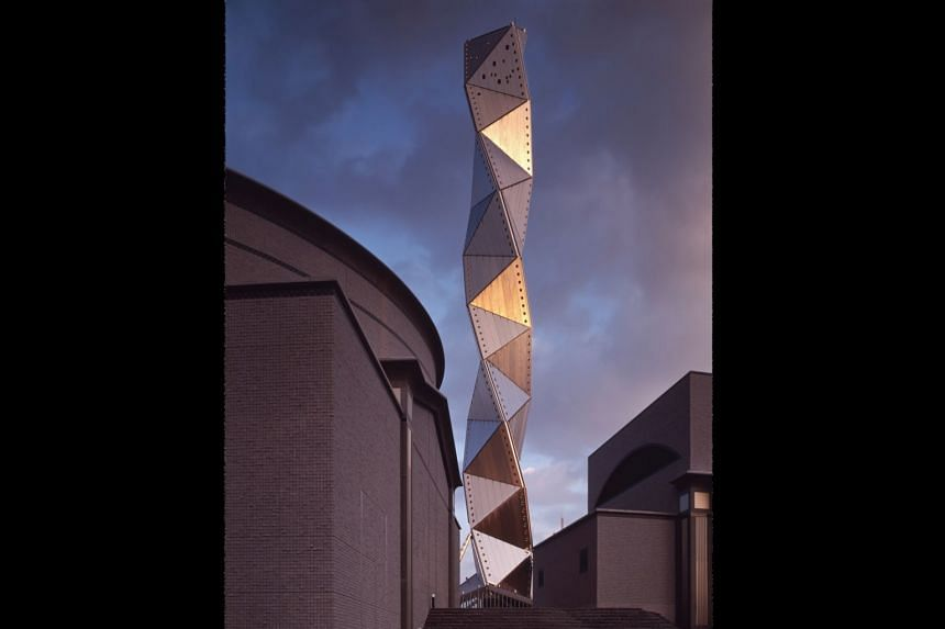 The tower at Art Tower MITO, in Japan, an arts complex designed by Arata Isozaki in 1990 that includes a concert hall, theatre and gallery.