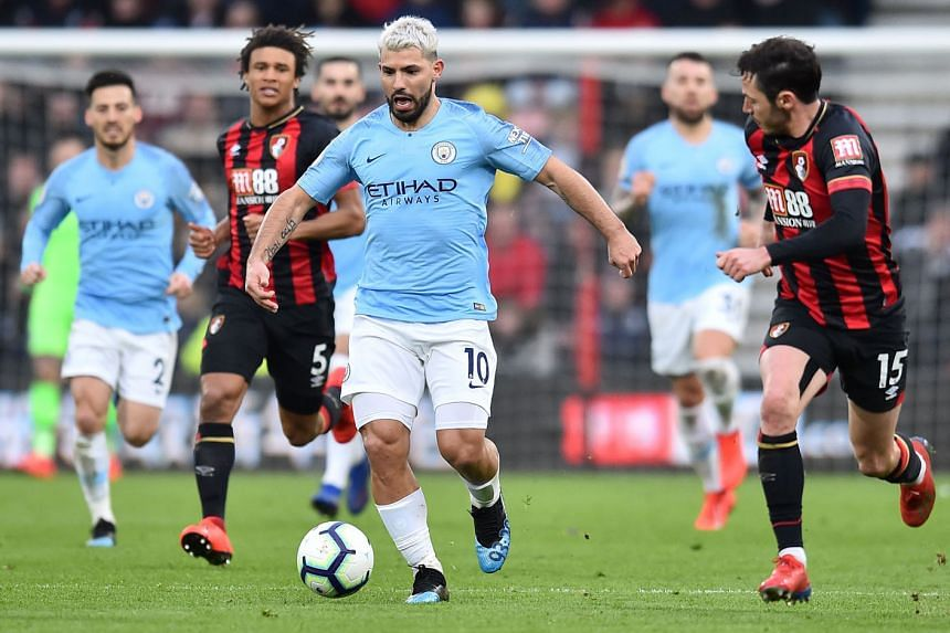 Manchester City striker Sergio Aguero in action against Bournemouth on Saturday. City won the match 1-0 and now lead Liverpool by one point with nine games left after the Reds drew 0-0 with Everton on Sunday. Aguero has been the key man for City this