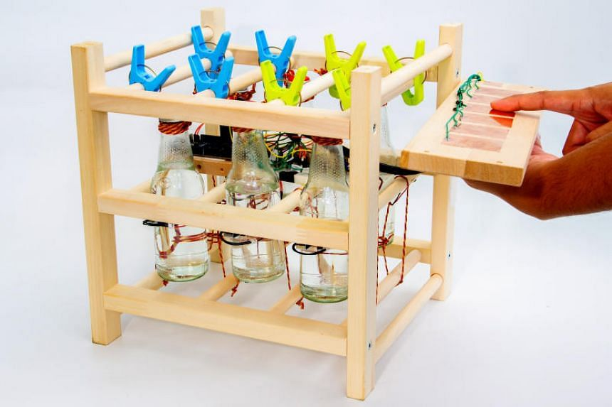 The Glass Bottle Music Machine is a musical instrument made of disposed glass bottles, which relates the sound produced to current global consumption.