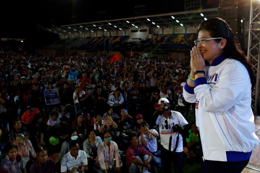 Pheu Thai Party's prime minister candidate Sudarat Keyuraphan greets supporters during a general election campaign rally at the party's stronghold in Chiang Mai province, northern Thailand, on March 2, 2019.