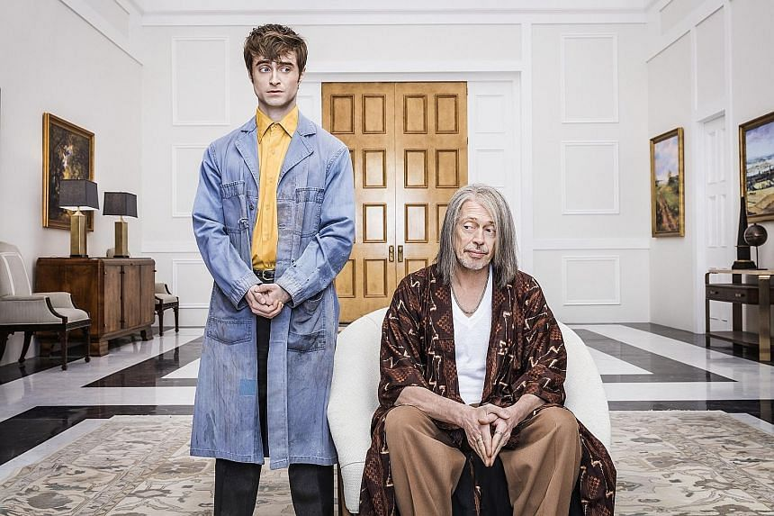 Daniel Radcliffe (left) plays a low-level angel and Steve Buscemi plays a jaded God who has tired of humanity.