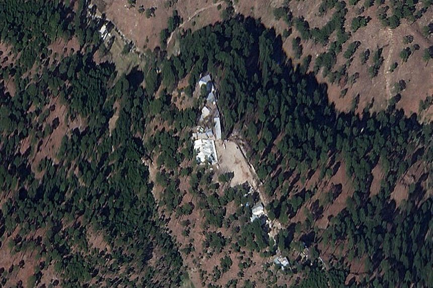 A cropped version of a satellite image showing a close-up of the intact religious school in Pakistan that India said it had bombed last week.