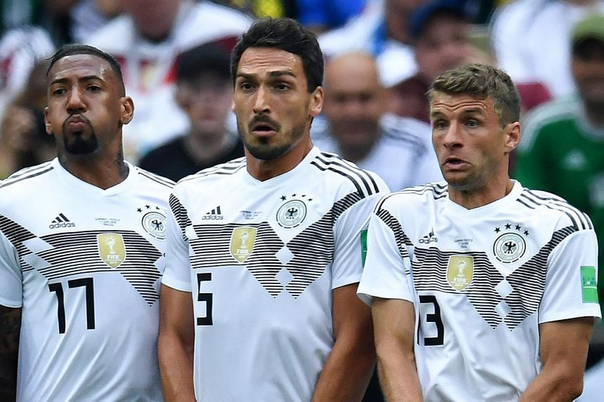Germany coach Joachim Low said on March 5, 2019, that Thomas Muller (right) and his Bayern teammates Mats Hummels (centre) and Jerome Boateng (left) were no longer part of the team's plans.