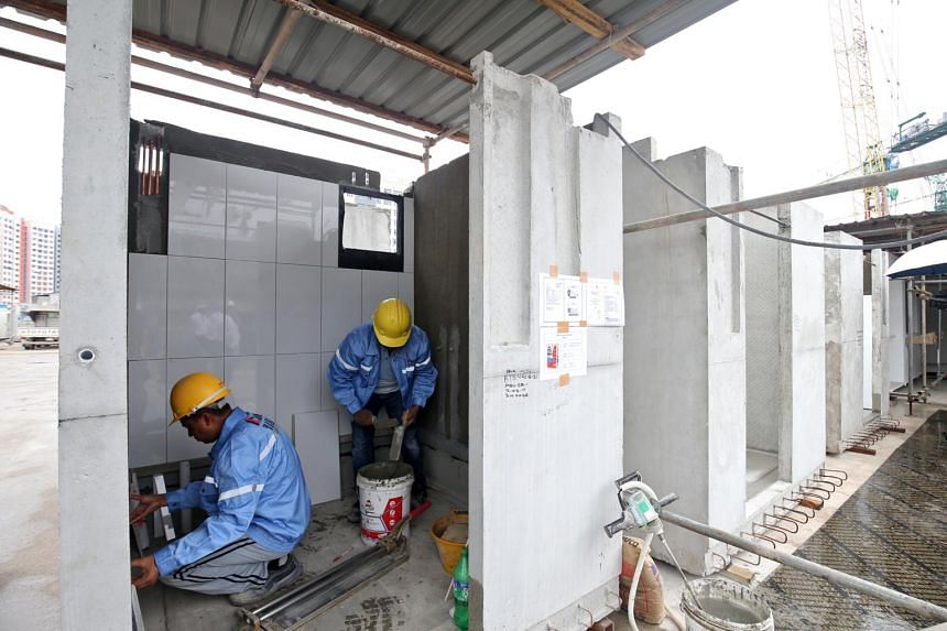 Bathroom units for HDB flats being built off-site as part of the pre-fabricated pre-finished volumetric construction (PPVC) method. Construction companies and government agencies will soon get a leg up in adopting new technology, with $295 million to