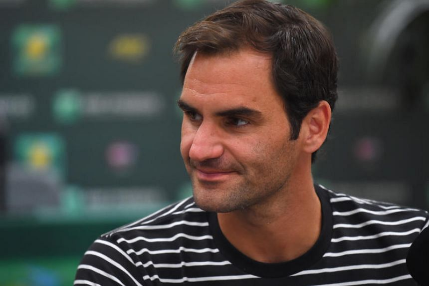 Roger Federer at the ATP Media Day during the BNP Paribas Open at the Indian Wells Tennis Garden on March 6, 2019.