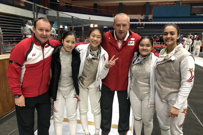(From left) Foil national partner coach Viacheslav Bobok, fencers Tatiana Wong and Denyse Chan, national foil and head coach Andrey Klyushin, and fencers Maxine Wong and Amita Berthier, at the Asian Junior and Cadet Fencing Championships in Jordan.