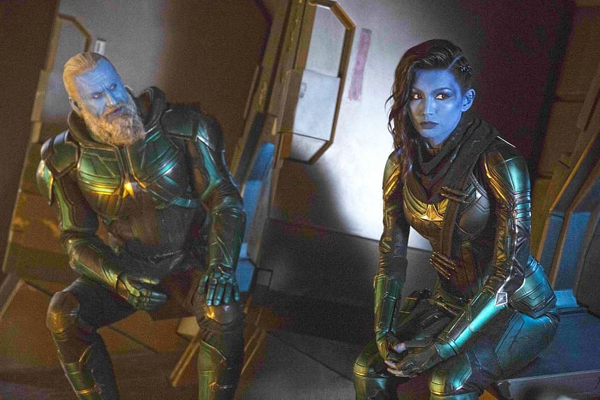 Rune Temte and Gemma Chan in Captain Marvel.