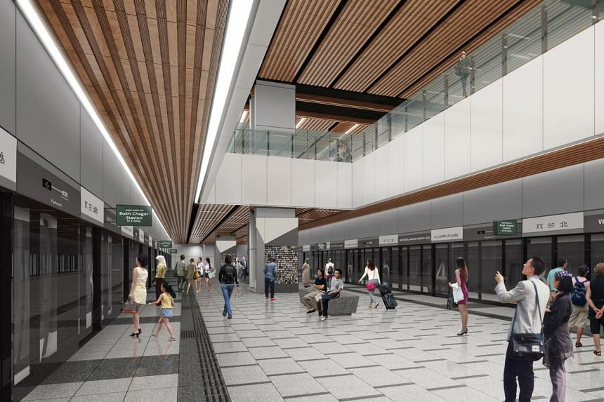 An artist's impression of Woodlands North station, which would be connected to Johor Baru by the Rapid Transit System Link.