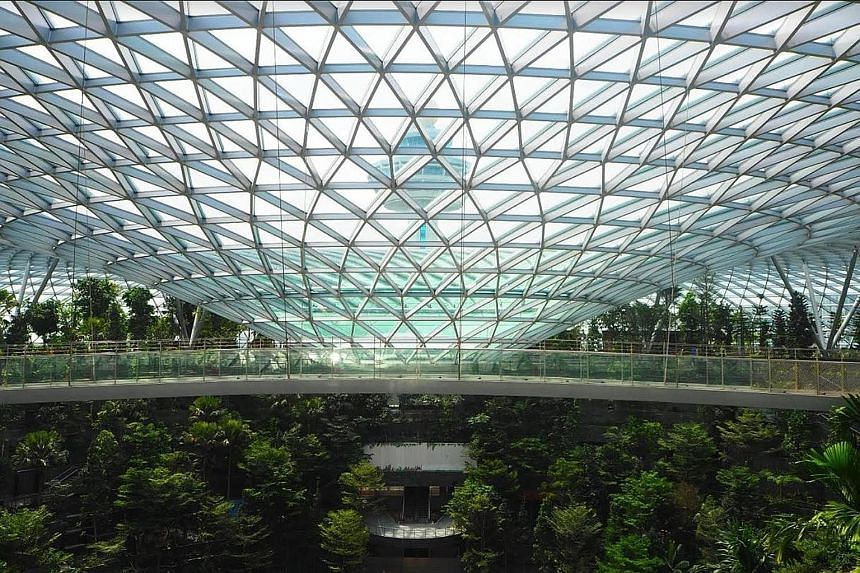 Jewel Changi Airport's five-storey garden, with 2,500 trees and 100,000 shrubs. Other highlights include the 40m-high Rain Vortex - the world's tallest indoor waterfall.