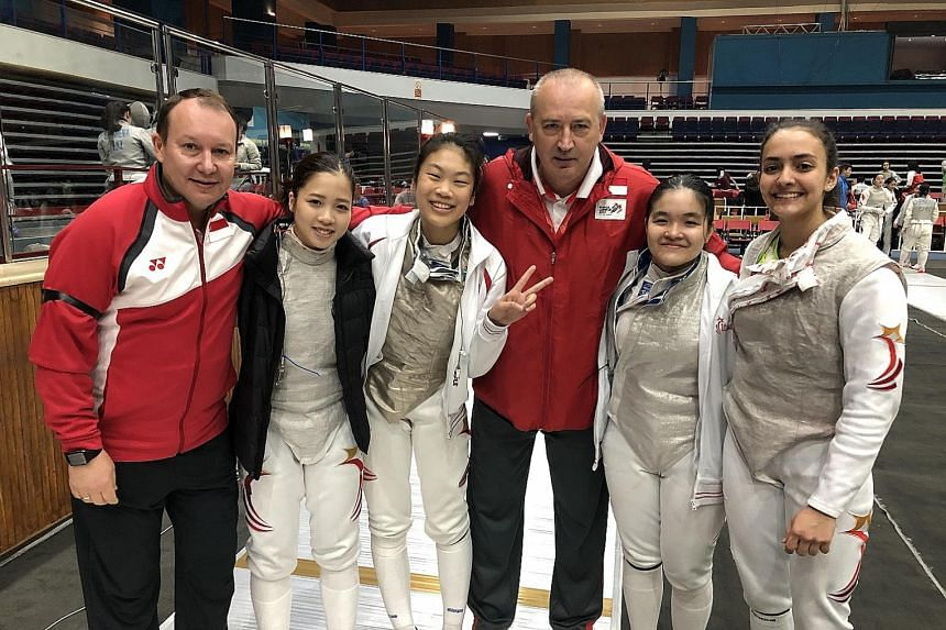 Above, from left: Viacheslav Bobok (foil national partner coach), Tatiana Wong, Denyse Chan, national foil and head coach Andrey Klyushin, Maxine Wong and Amita Berthier are all smiles at the Asian Junior and Cadet Fencing Championships in Jordan. Le