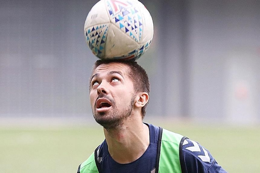 Zehrudin Mehmedovic, at training on Wednesday, says he is happy to have played a part in Tampines' good start to the season. He netted in the AFC Cup away win over Yangon and also in the opening SPL game.