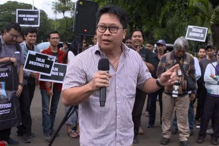Robertus Robet was briefly detained after video emerged online of him singing a protest song criticising a plan to put senior military officials in civilian government positions.