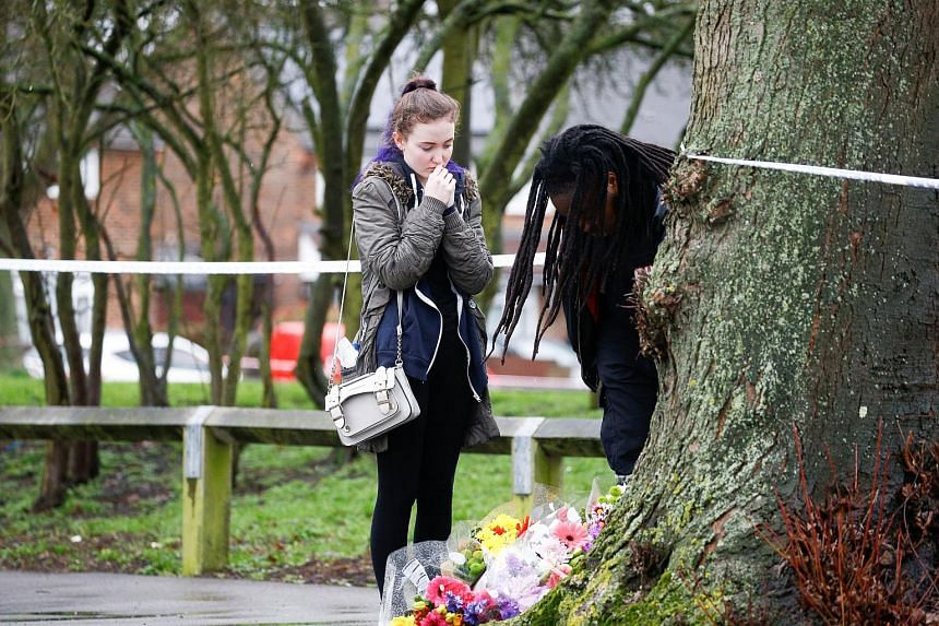 People visit the area close to where 17-year-old Jodie Chesney was killed, at the Saint Neots Play Park in Harold Hill, east London on March 3, 2019.