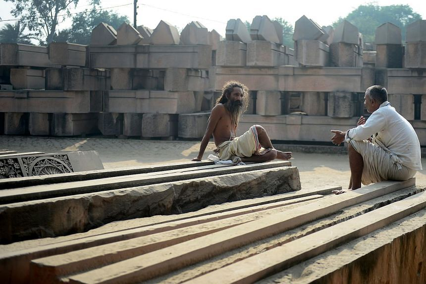 Stone slabs being prepared for a proposed Hindu temple at Ram Janmabhoomi Nyas workshop in Ayodhya, India. Temple devotees want a grandiose structure built on the ruins of a medieval mosque that was razed by Hindu zealots in 1992.